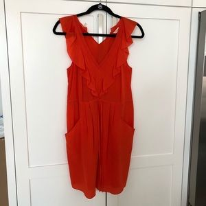 Rebecca Taylor Silk Flame Red Orange Dress Size 2
